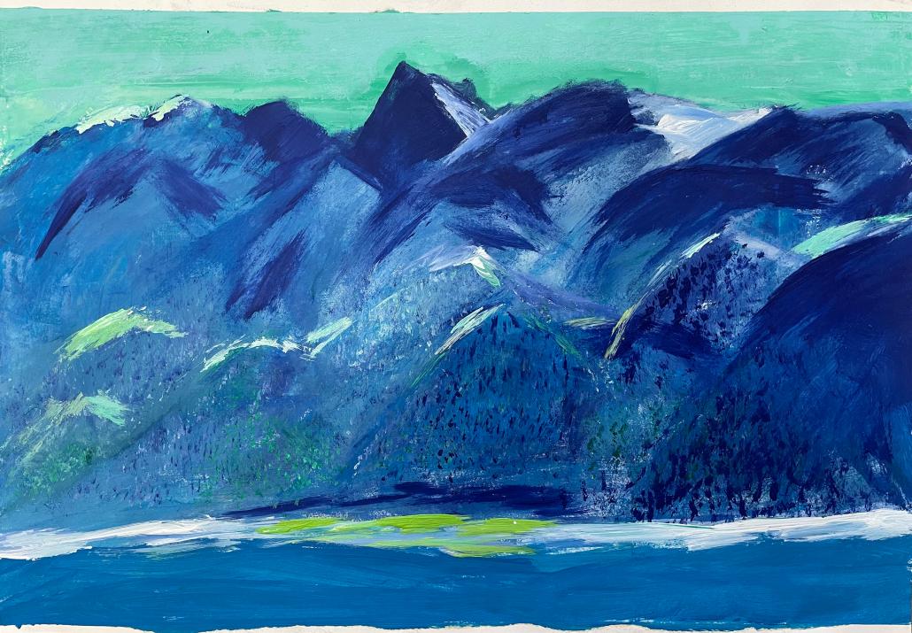 "Sylvia Gatz. ""Alpen"". 60 x 42 cm. Acryl und Öl auf Papier. 2016"