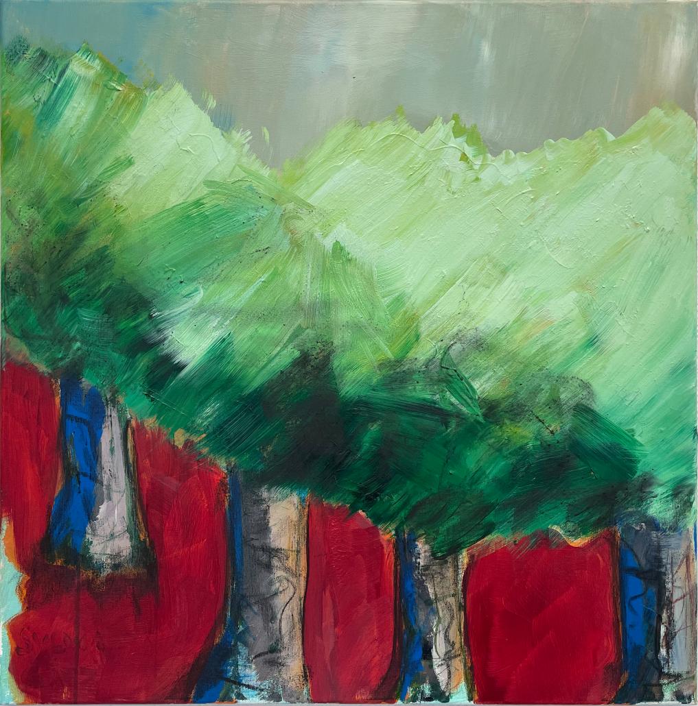 """Sylvia Gatz. """"Bäume"""". 60 x 60 cm. Acryl auf Leinwand. 2021"""