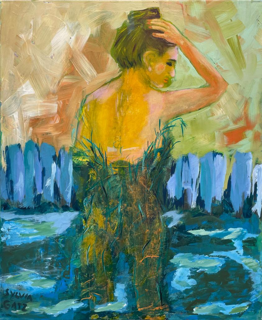 "Menschen / humans Sylvia Gatz. ""Ohne Titel (Baumfrau)"". 80 x 100 cm. Acryl auf Leinwand. 2020"