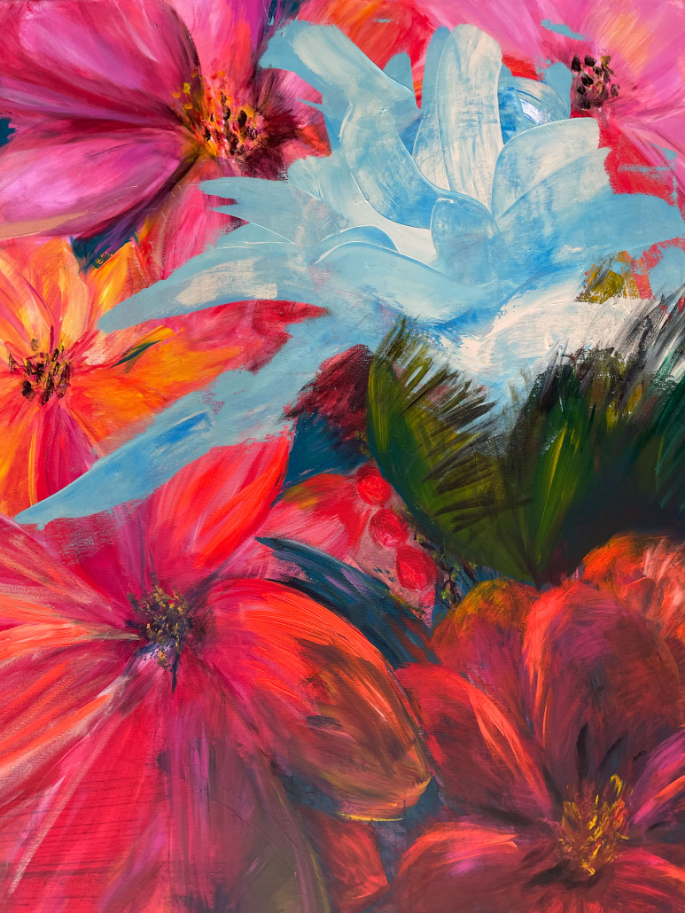 "Sylvia Gatz. ""Beerenblumen"" Acryl auf Leinwand. 80 x 80 cm. 2021"