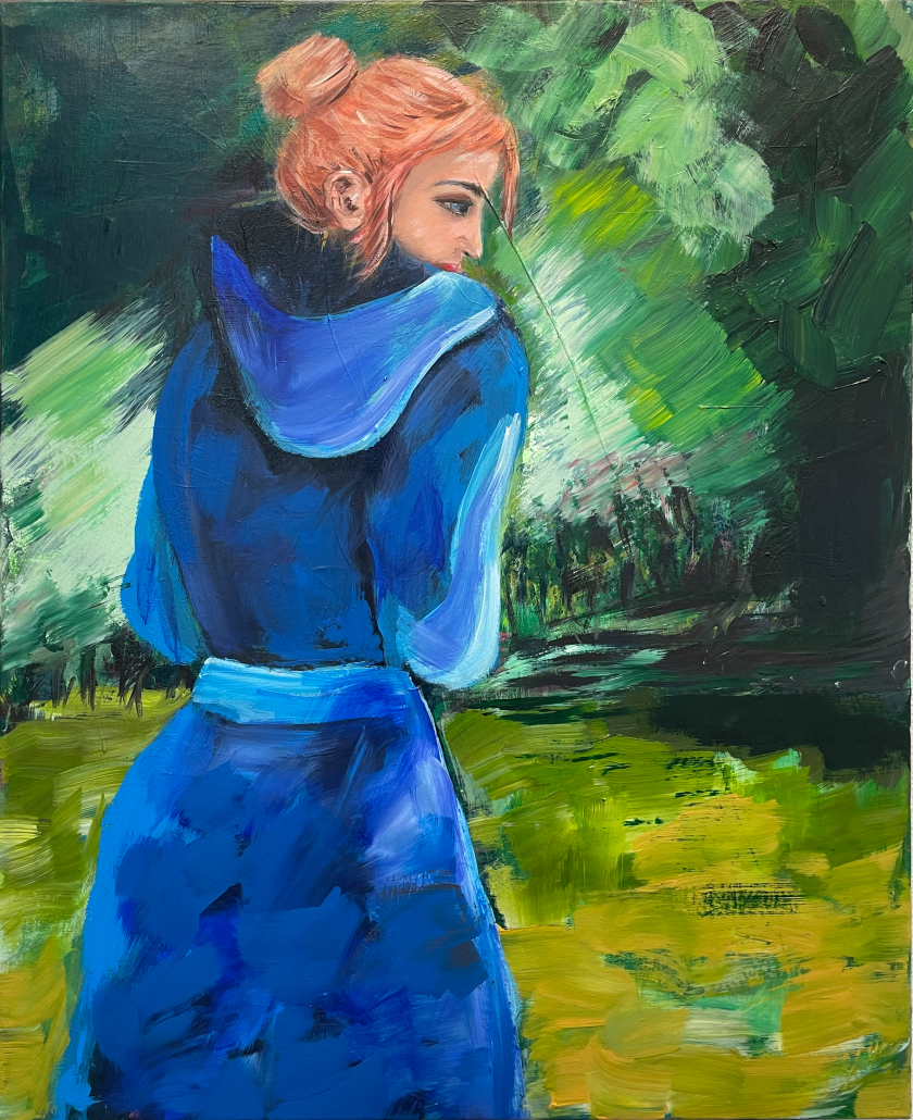 "Sylvia Gatz. ""Blau im Grün"". 80 x 100cm. Acryl auf Leinwand. 2021"