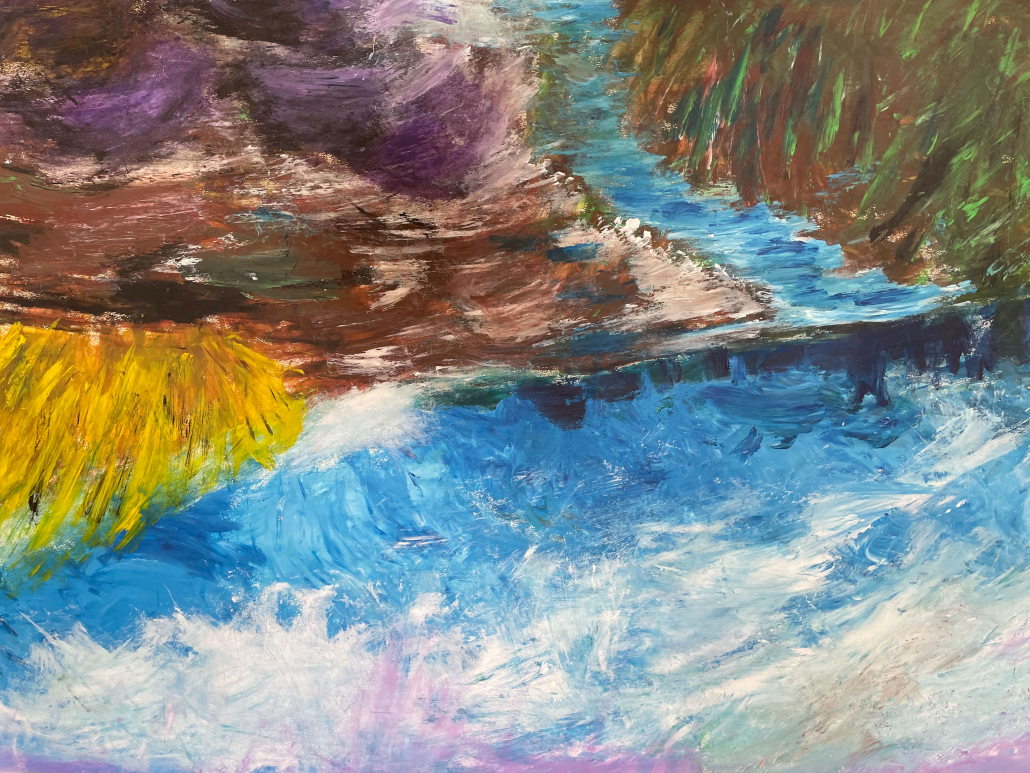 "Sylvia Gatz. ""Elbe"" Acryl auf Papier. 70 x 100 cm. 2017"