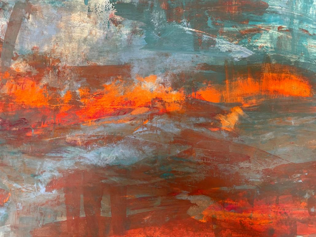 "Sylvia Gatz. ""Feuer"" Acryl auf Papier. 70 x 100 cm. 2017"