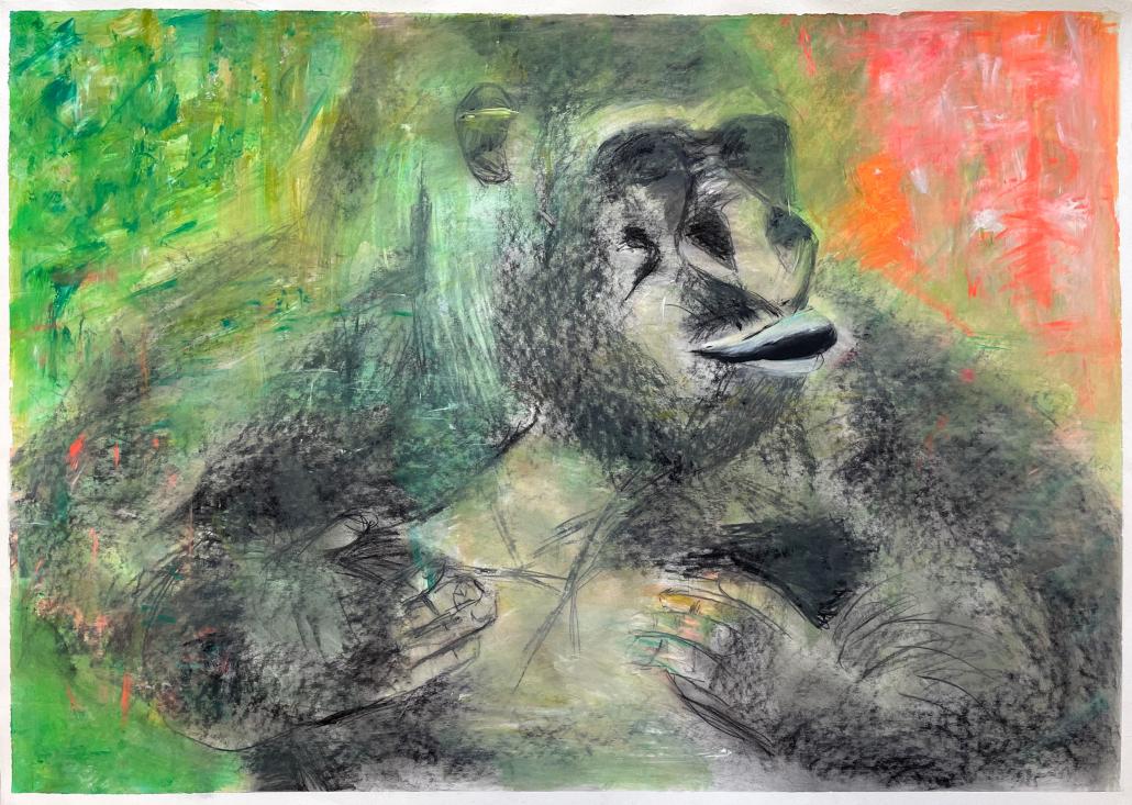 """Sylvia Gatz. """"Gorilla Bad Schmiedeberg"""". 100 x 70 cm. Acryl und Kohle auf Papier. 2018"""