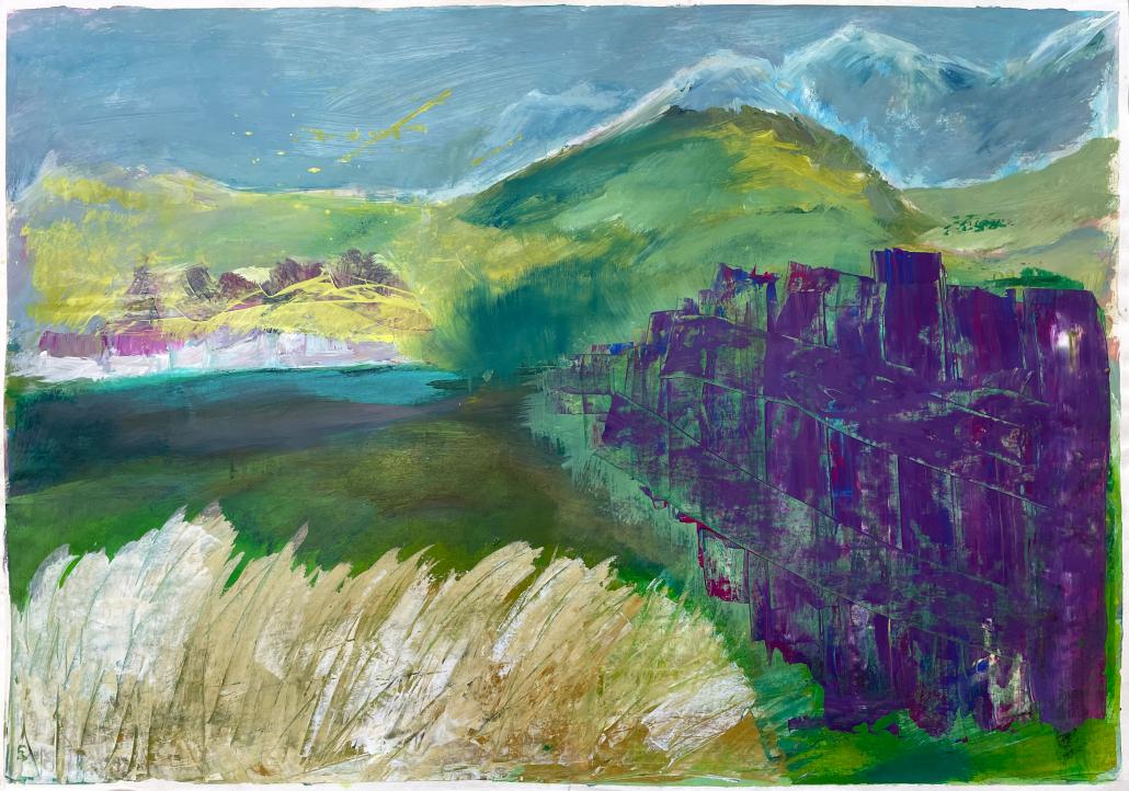 "Arbeiten Sylvia Gatz ""Ohne Titel (Murnau)"". 100 x 70 cm. Acryl auf Papier. 2019"
