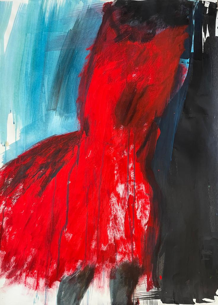 """Sylvia Gatz. """"Ohne Titel (Ballkleid rot-weiß)"""". 70 x 100 cm. Acryl auf Papier. 2017"""
