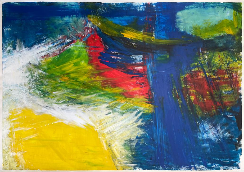 "Sylvia Gatz. ""Ohne Titel (Sturmflut)"". 100 x 70 cm. Acryl auf Papier. 2017"