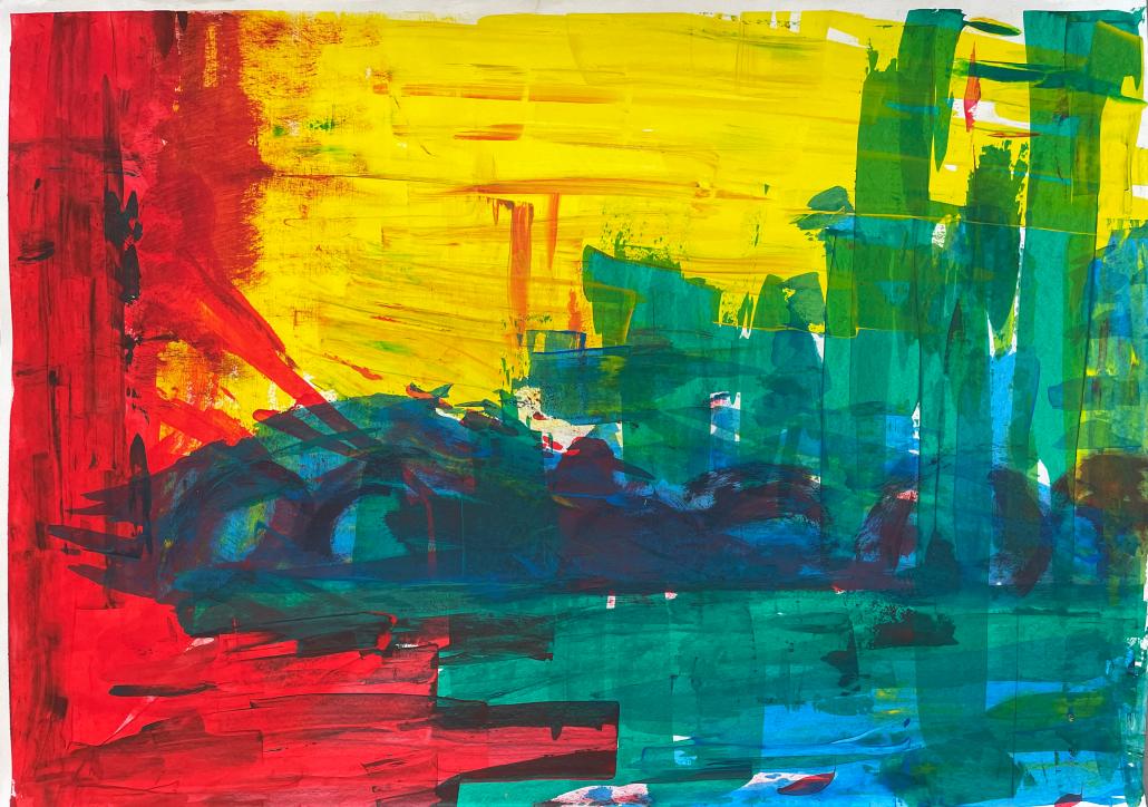 """Sylvia Gatz. """"Ohne Titel (Wüste)"""". 100 x 70 cm. Acryl auf Papier. 2017"""