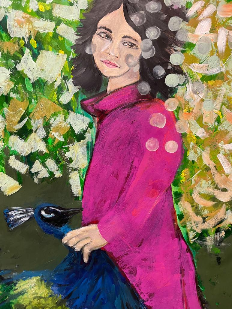 """Sylvia Gatz. """"Pfau am Ende"""" Acryl auf Papier. 70 x 100 cm. 2021"""