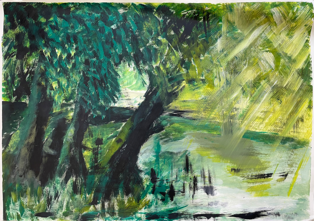 "Sylvia Gatz. ""Rosenthal"". 100 x 70 cm. Acryl auf Papier. 2018"