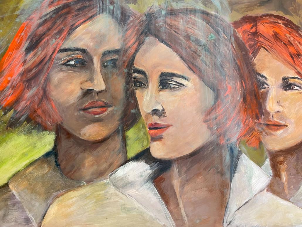 "Sylvia Gatz. ""Drei Frauen"" Acryl auf Papier. 70 x 100 cm. 2017"