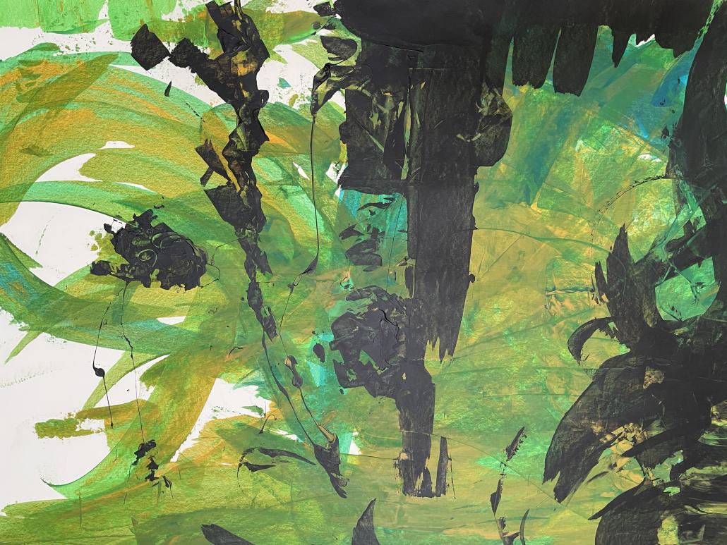 "Sylvia Gatz. ""Green Dschungel"" Acryl auf Papier. 70 x 100 cm. 2017"