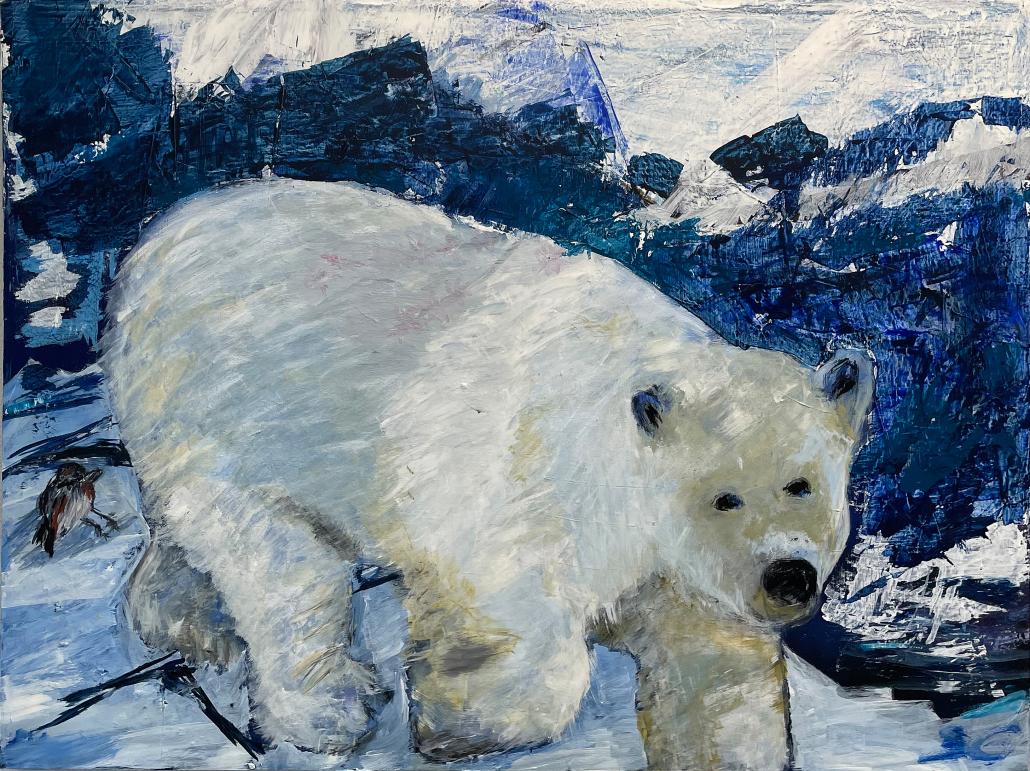 "Sylvia Gatz. ""Vogel im Eis"". 120 x 90 cm. Acryl und Öl auf Leinwand. 2021"