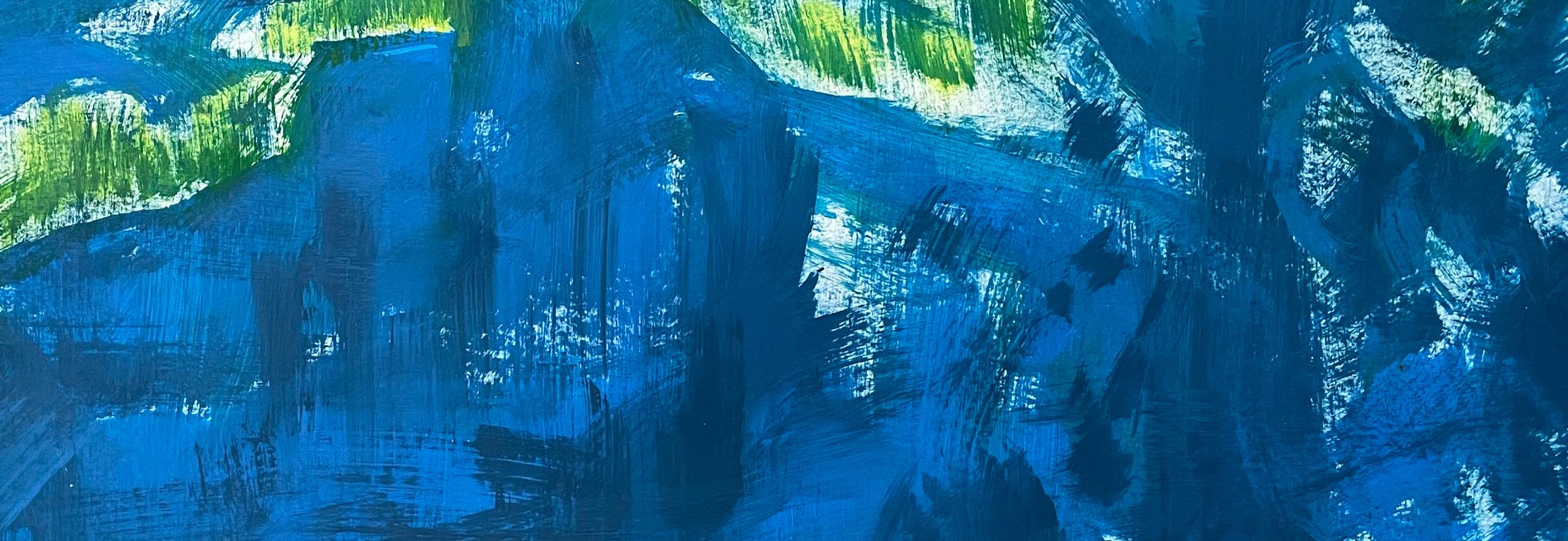 "Abstrakt / abstract Sylvia Gatz. ""Ohne Titel (Blue Jungle)"". Detail. 100 x 70 cm. Acryl auf Papier. 2017"