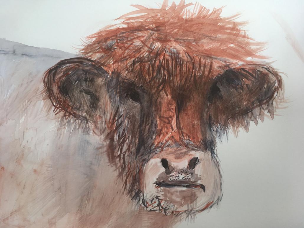"Sylvia Gatz. ""Auerochs"". 70 x 100 cm. Aquarell auf Papier. 2017"