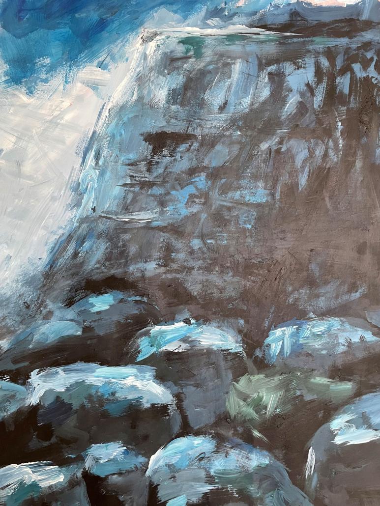 """Sylvia Gatz. """"Felsen"""" Acryl auf Papier. 70 x 100 cm. 2017"""