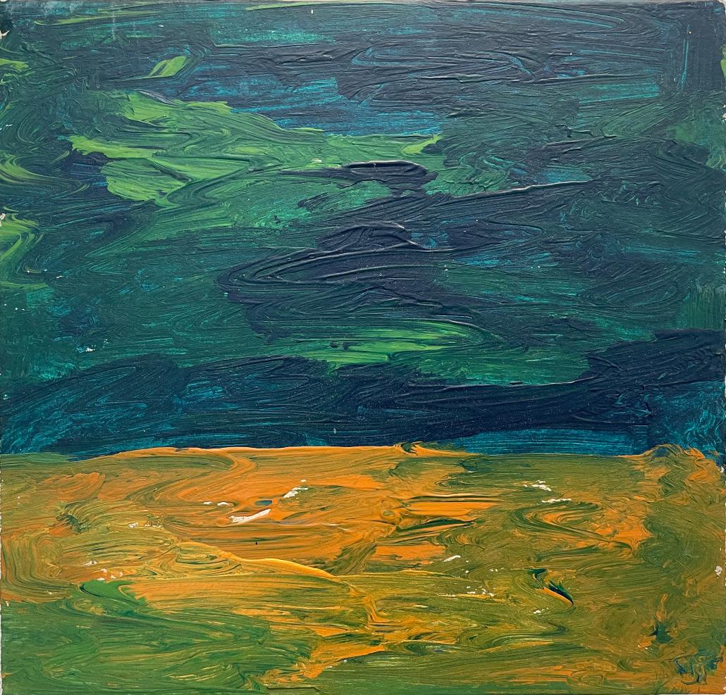 """Sylvia Gatz. """"Grüner Himmel"""". 30 x 30 cm. Öl auf Pappe. 2016"""