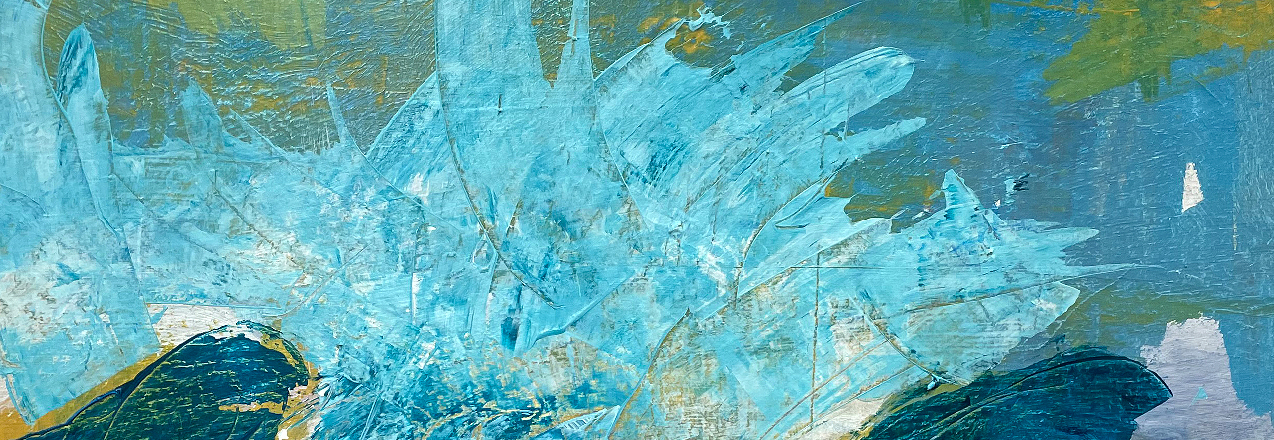 "Über Sylvia Gatz. ""Bretagne (Detail)"". 50 x 50 cm. Acryl und Öl auf Leinwand. 2020"