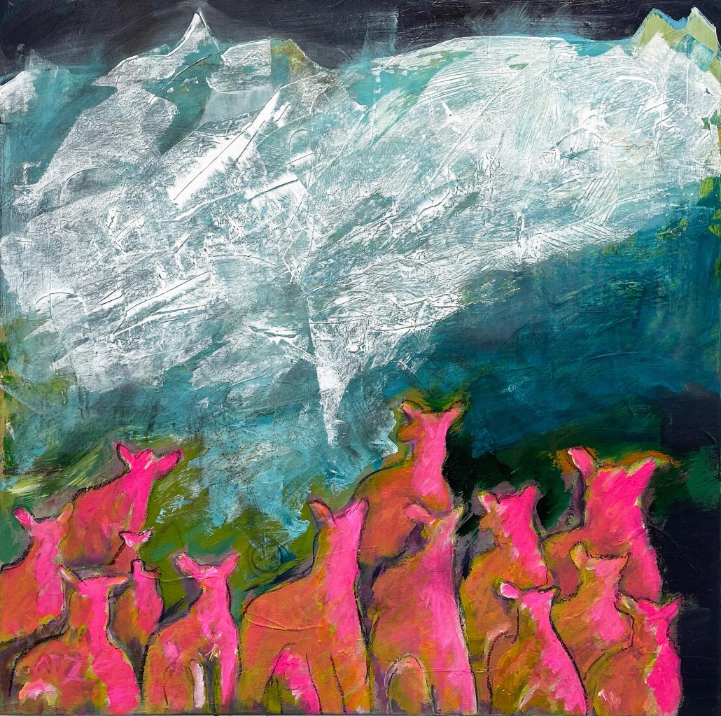 "Sylvia Gatz. ""Ohne Titel (Massif central)"". 80 x 80 cm. Acryl auf Leinwand. 2021"