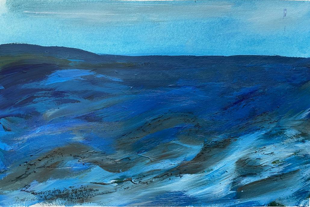 "Sylvia Gatz. ""Serie Blue Sea I."" Acryl auf Papier. 26,5 x 39 cm. 2021"